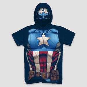 New Marvel CAPTAIN AMERICA Men's Hooded T-Shirt M